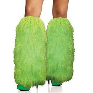 Neon Green furry leg warmers